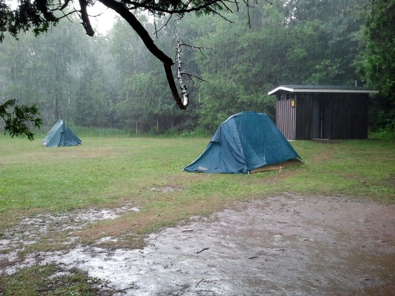 Rain falling on our campsite