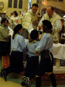 Our Timber Wolves and Leaders receive Holy Communion