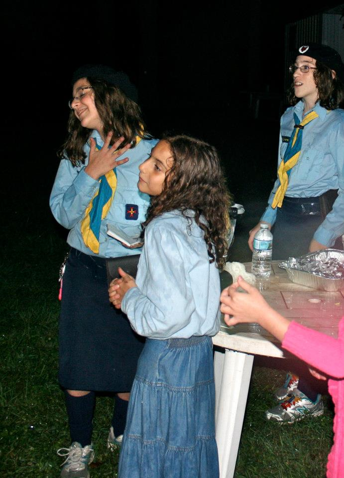 The girls get ready for their campfire