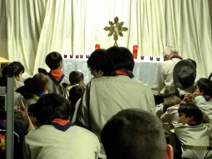 FNE Timber Wolves and Explorers adoring the Most Blessed Sacrament