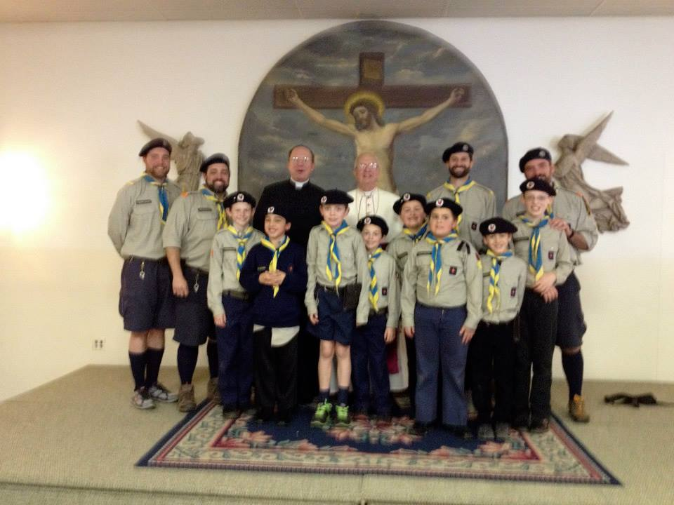 Our FNE Timber Wolves with Fr. Pasley and Bp. Bevard