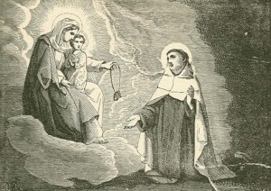 Our Lady of Mount Carmel gives the scapular to St. Simon Stock